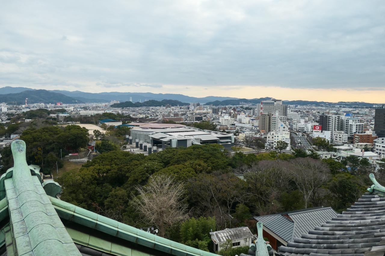 和歌山城の天守閣からの眺め