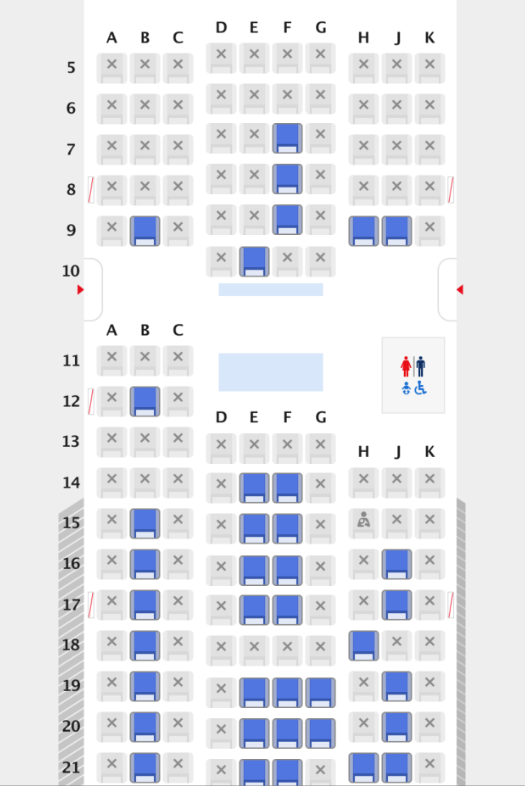 ANAプラチナメンバーの指定可能座席